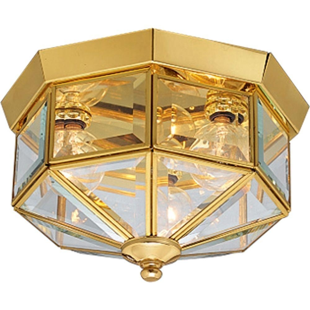 Inspiration about Progress Lighting 3 Light Polished Brass Flushmount With Clear Inside Polished Brass Outdoor Ceiling Lights (#15 of 15)