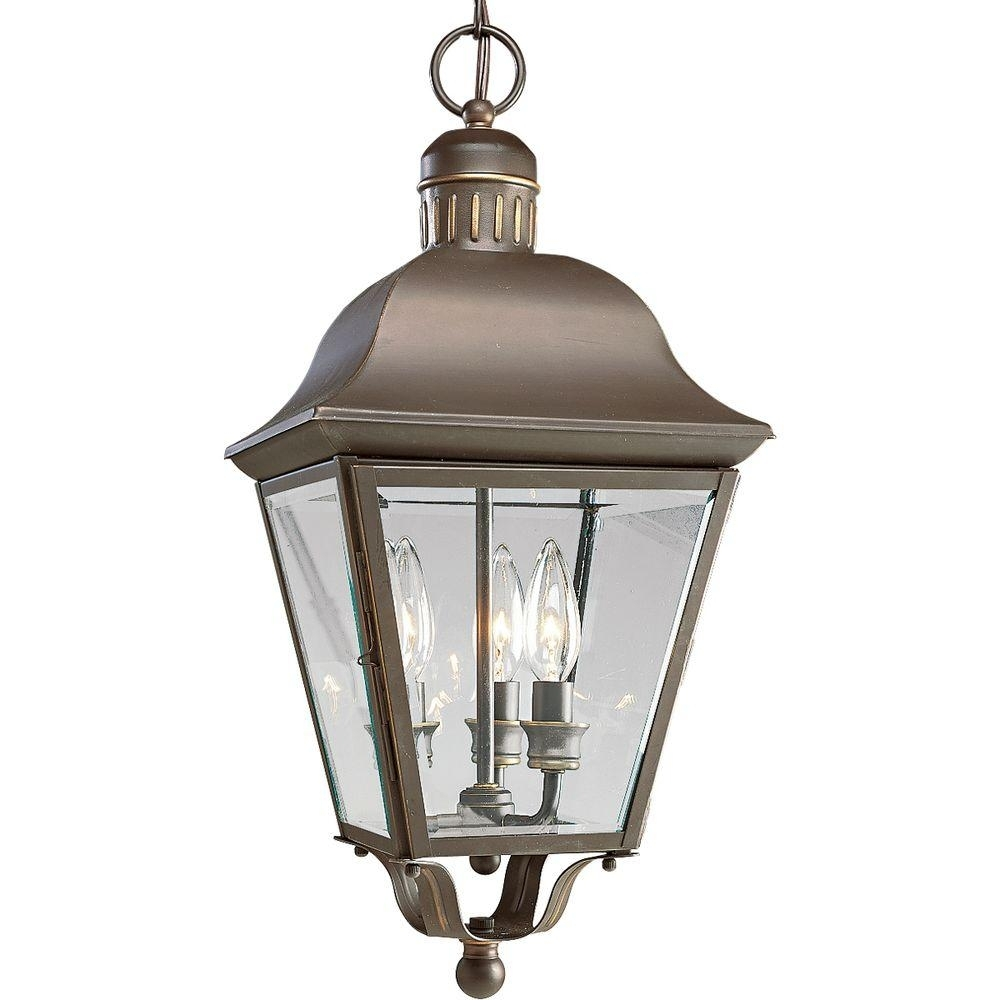 Progress Lighting Andover Collection 3 Light Antique Bronze Outdoor Inside Outdoor Hanging Globe Lights (View 14 of 15)