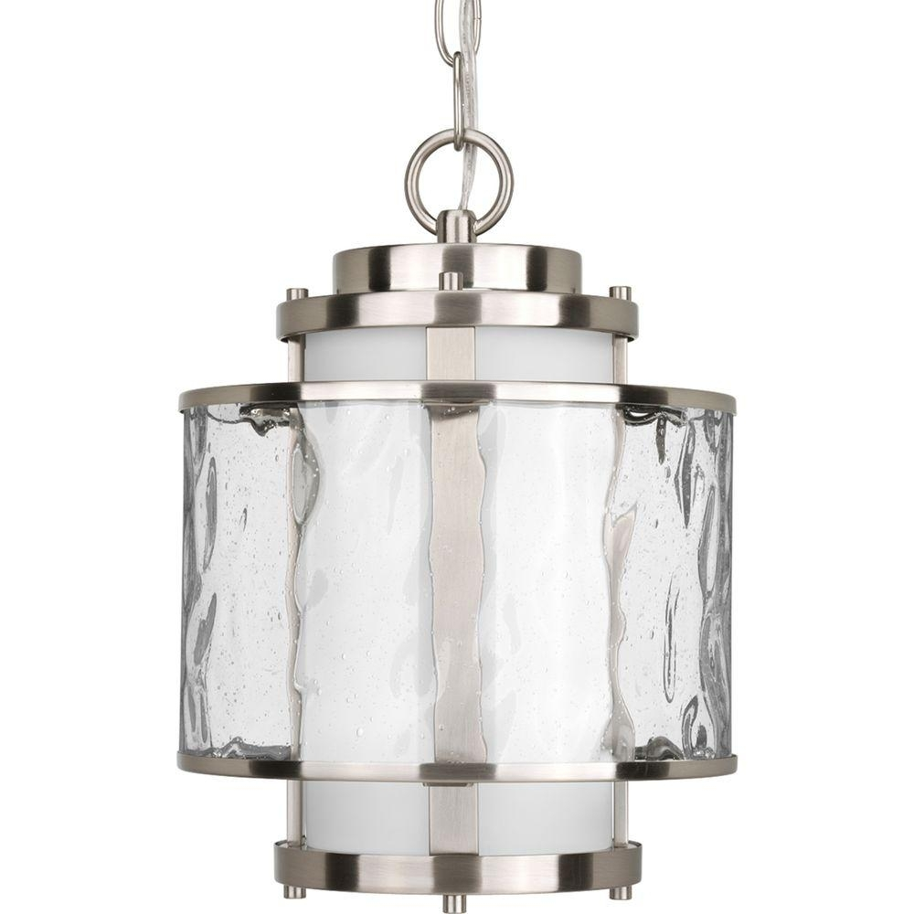 Progress Lighting Bay Court Collection Brushed Nickel Outdoor Inside Outdoor Hanging Lamps Online (#12 of 15)
