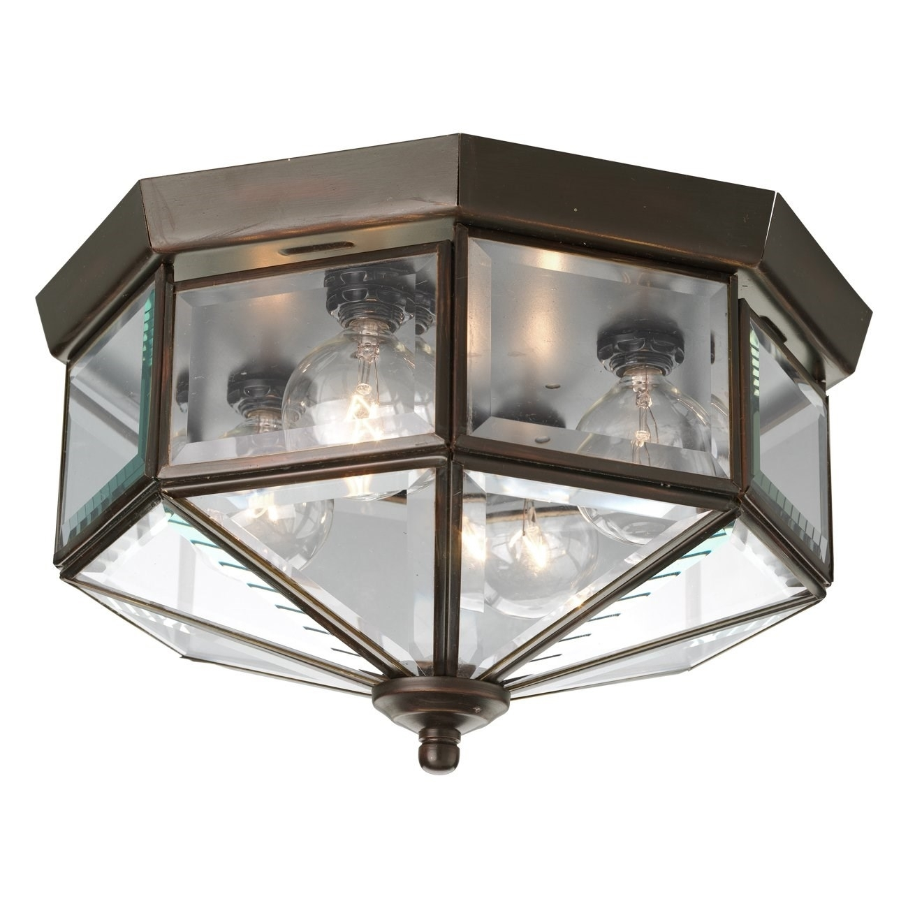 Progress Lighting P5789 Octagonal 4 Light Flush Mount With Clear Within Outdoor Close To Ceiling Lights (#11 of 15)