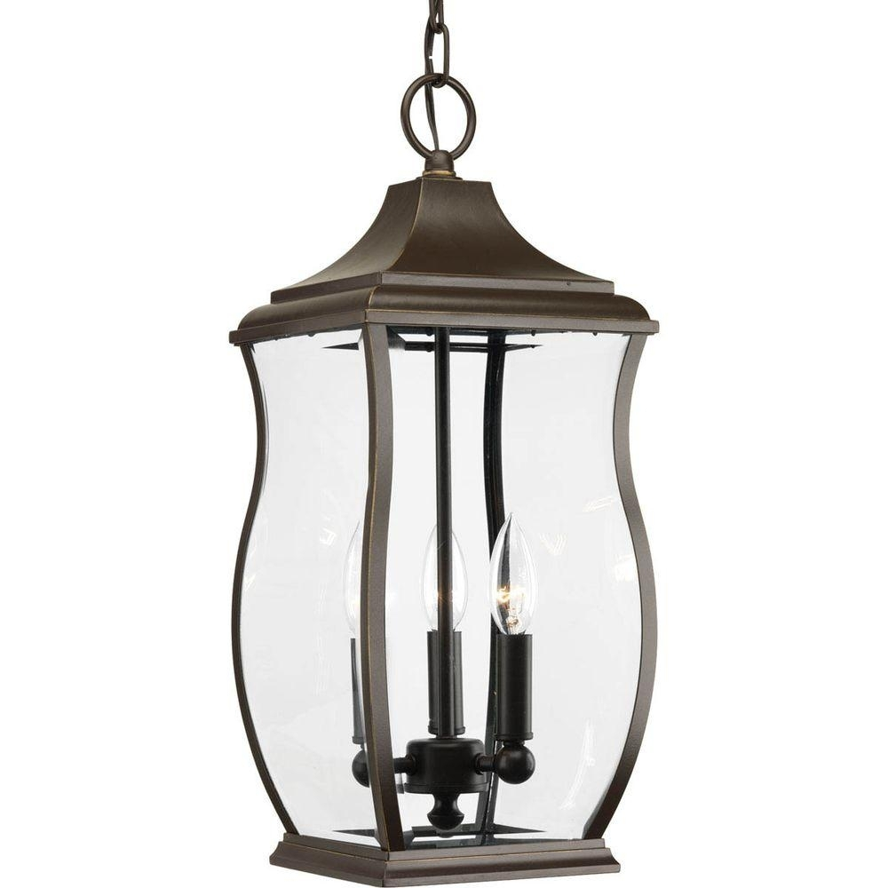 Progress Lighting Township Collection 3 Light Outdoor Oil Rubbed Intended For Oil Rubbed Bronze Outdoor Hanging Lights (#12 of 15)