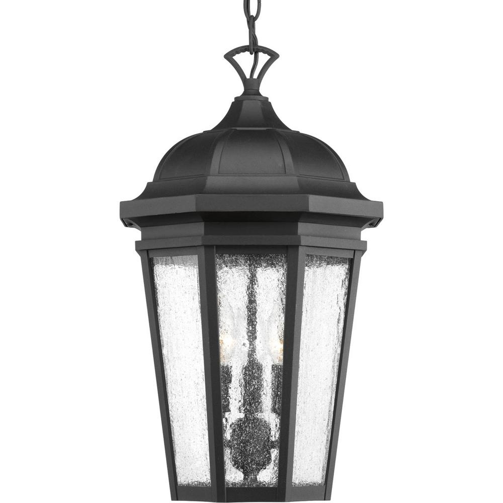 Progress Lighting Verdae Collection 3 Light Outdoor Black Hanging With Regard To Outdoor Hanging Light In Black (#11 of 15)