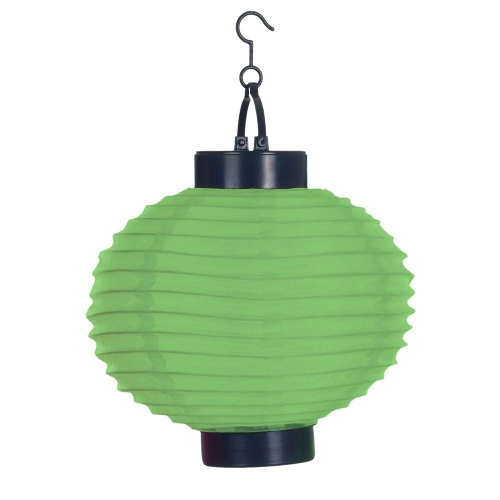 Pure Garden 4 Light Green Outdoor Led Solar Chinese Lantern 50 19 G Inside Outdoor Hanging Garden Lanterns (View 13 of 15)