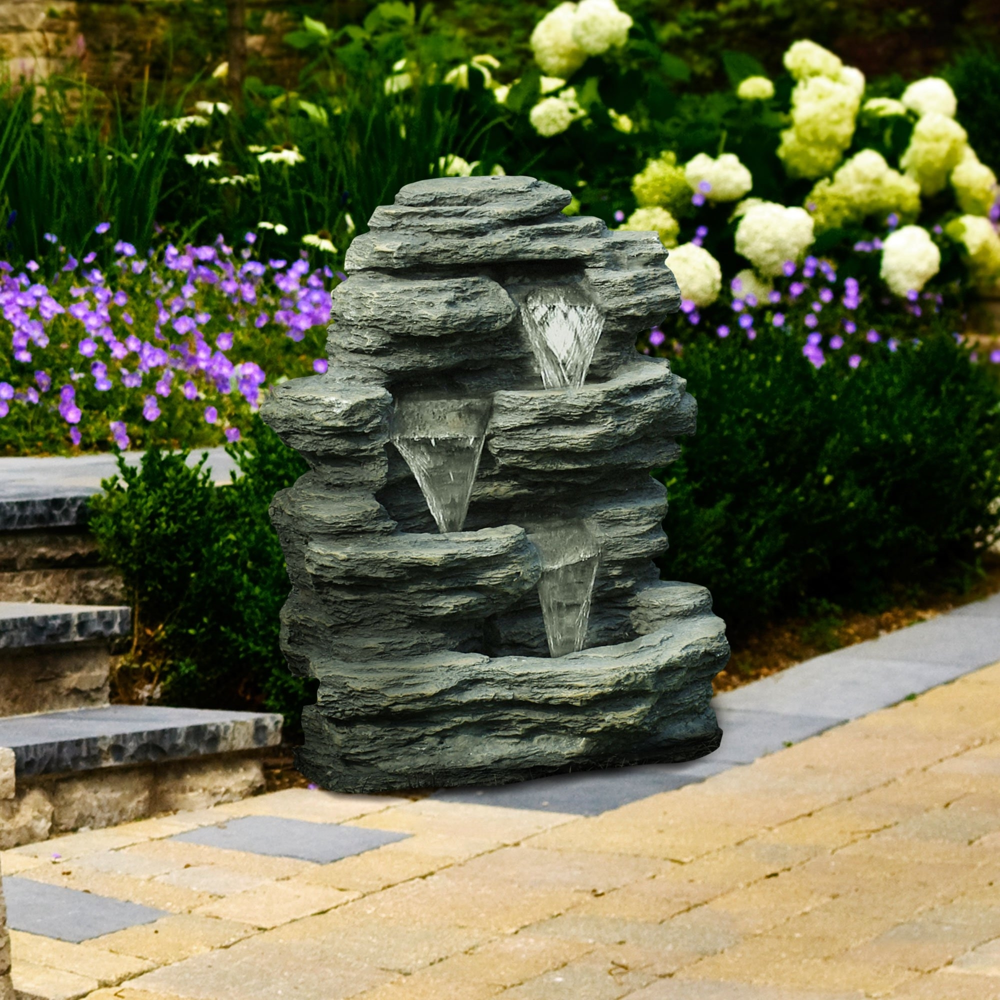 Pure Garden Cascade Rock Outdoor Fountain | Hayneedle Inside Wayfair Landscape Lighting For Mini Garden (View 8 of 15)