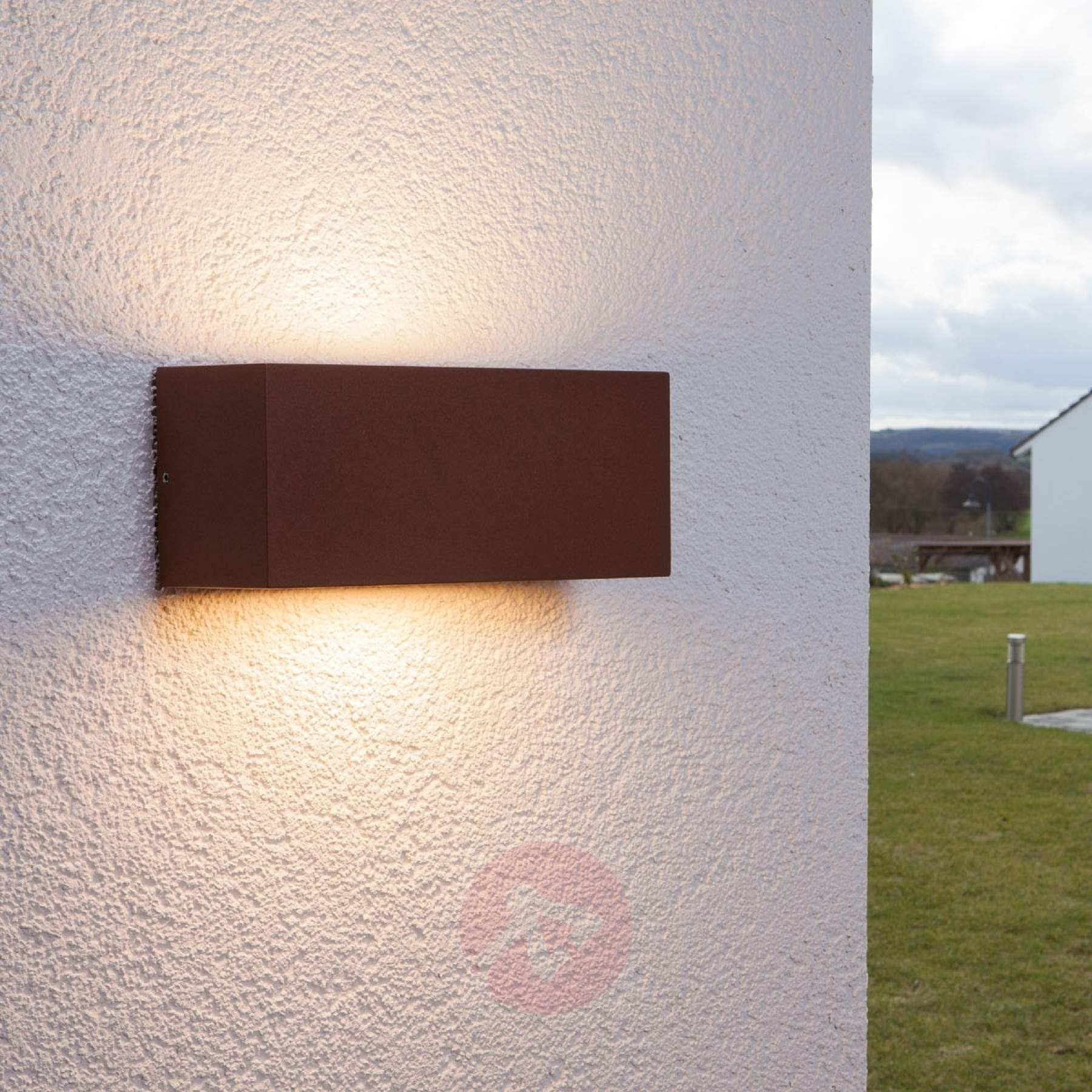Rectangular Outdoor Wall Light Bente, Auburn | Lights.co (#12 of 15)