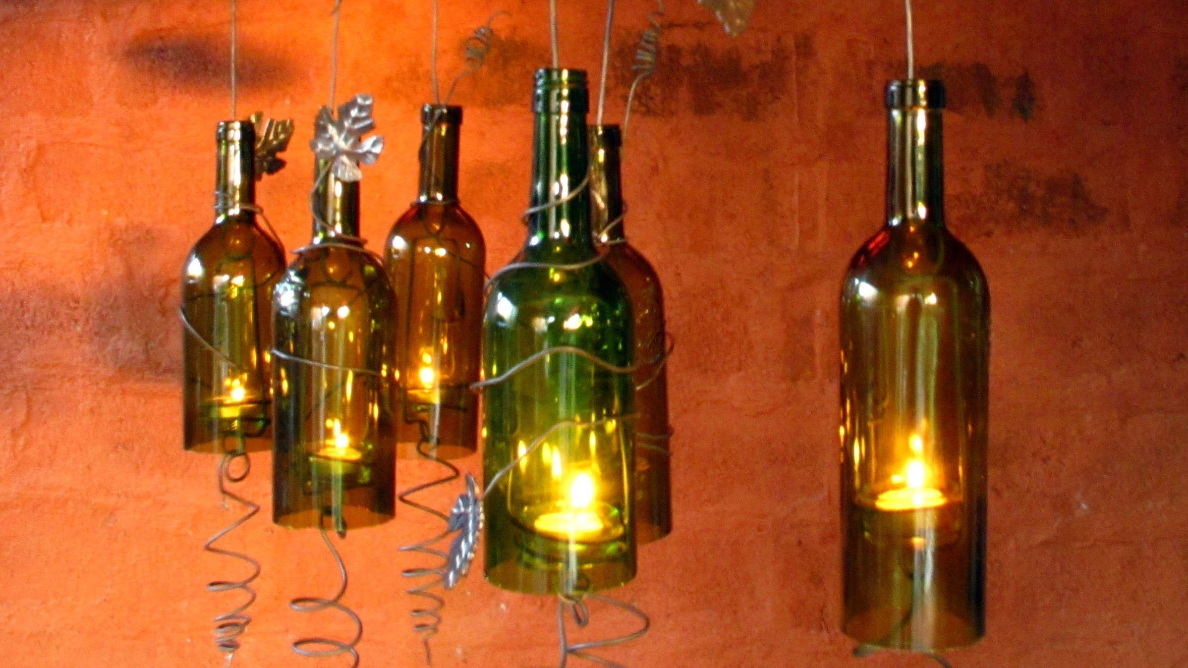 Recycled Wine Bottles Made Into A Hurricane Candle Holder, Diy Video Within Making Outdoor Hanging Lights From Wine Bottles (#13 of 15)
