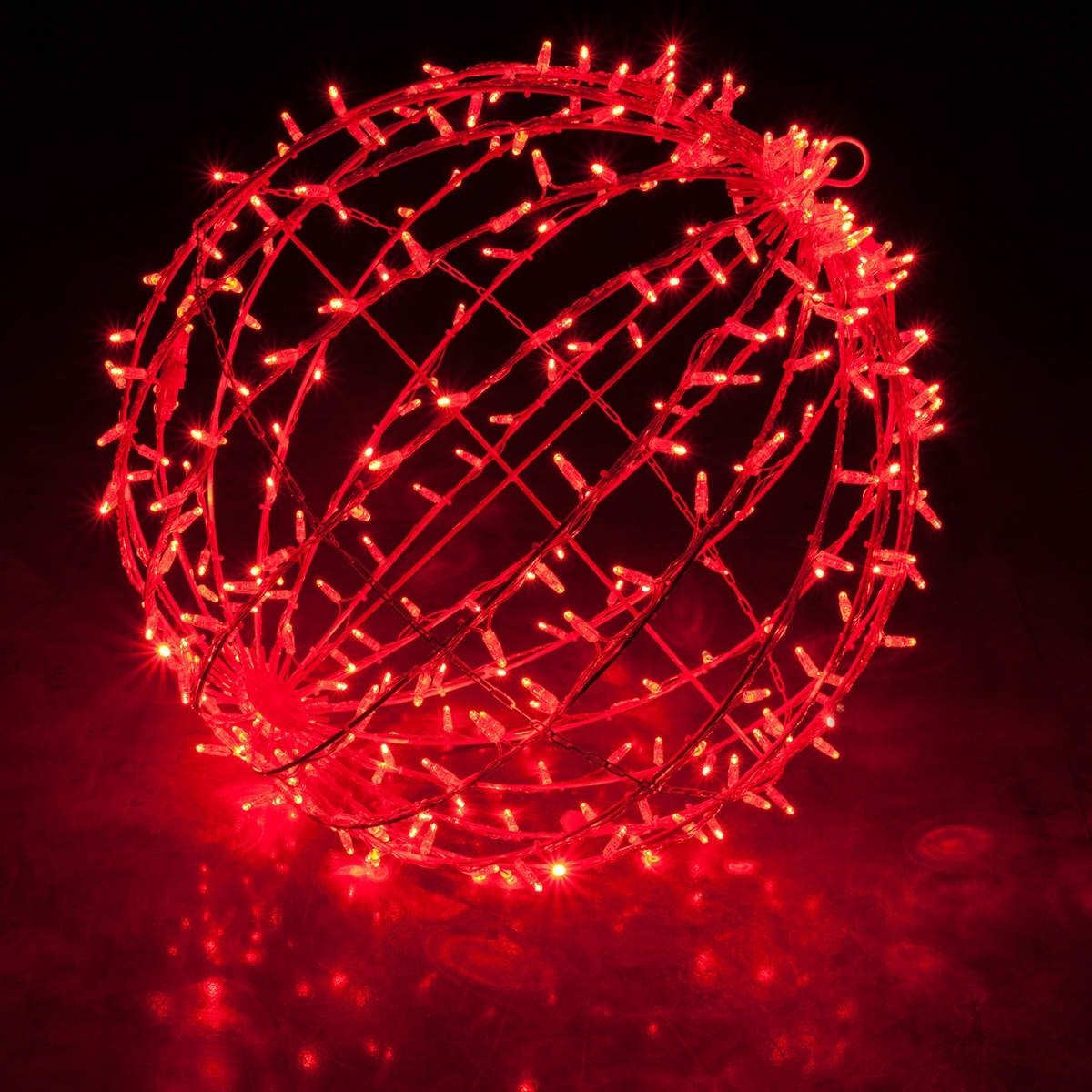 Red Led, Commercial Mega Sphere Christmas Light Ball, Fold Flat Regarding Outdoor Hanging Sphere Lights (View 12 of 15)