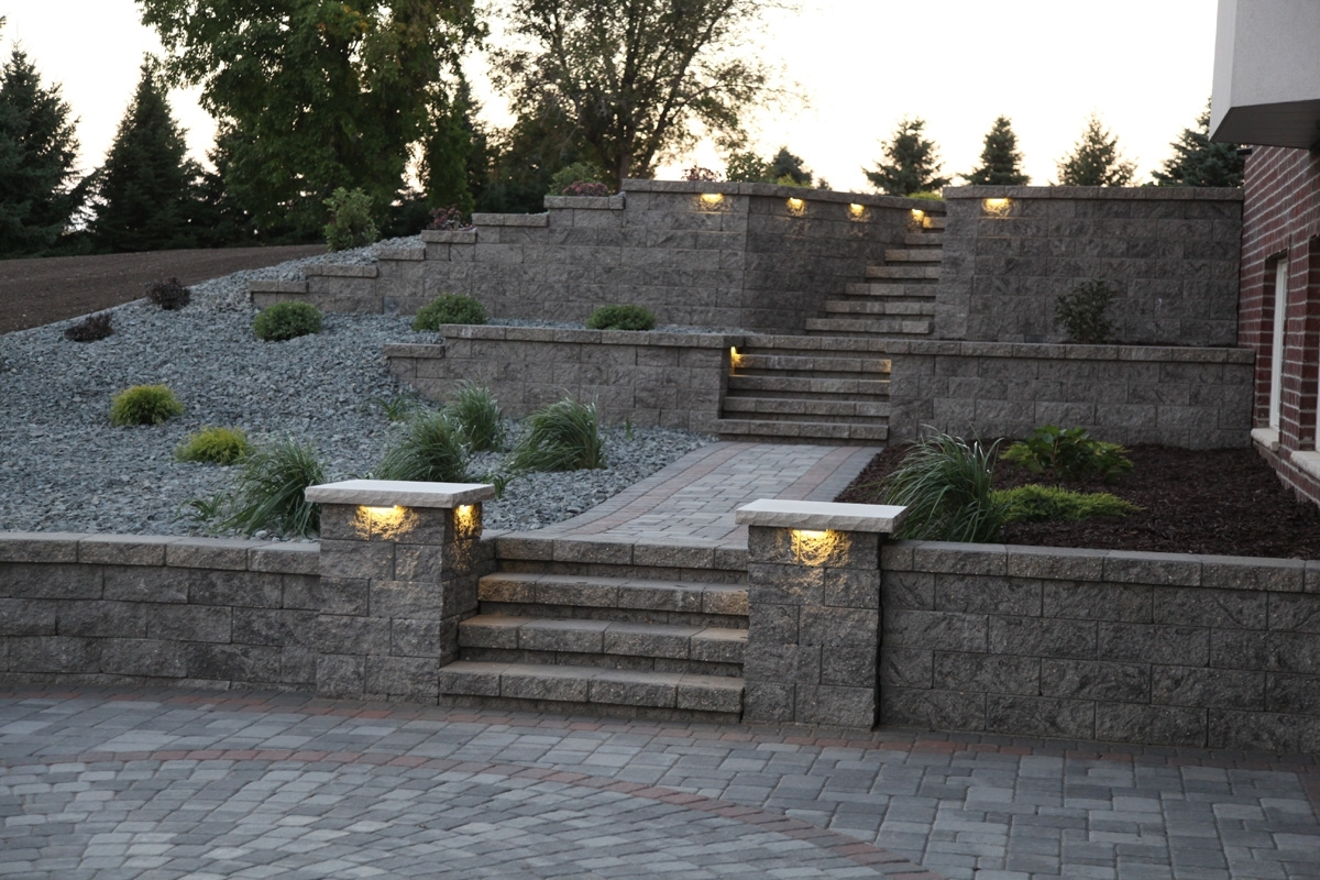 Inspiration about Retaining Walls – Wall Blocks – Retaining Wall Designs – Landscape Pertaining To Outdoor Block Wall Lighting (#7 of 15)