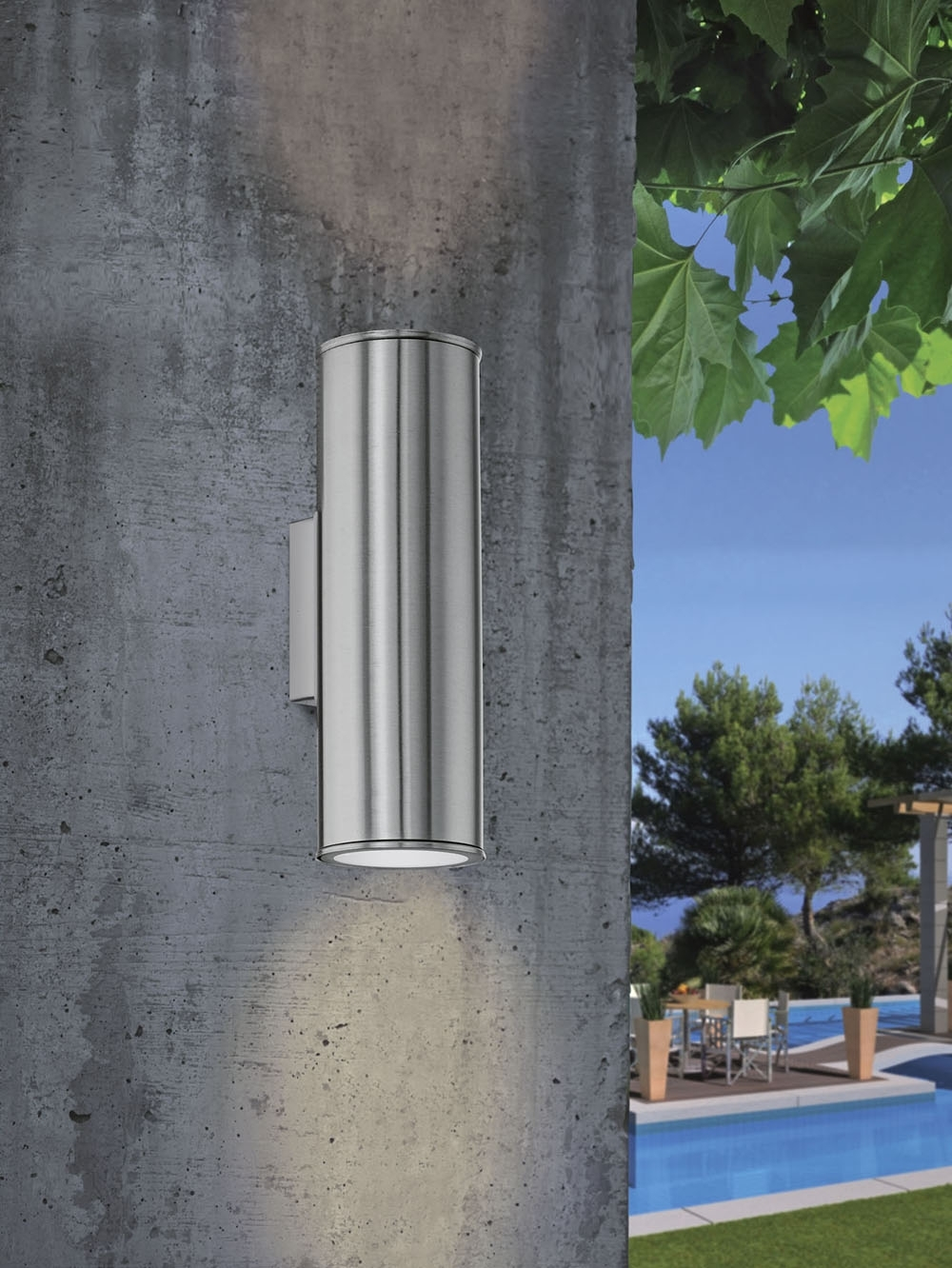 Inspiration about Riga Up/down Wall Pillar Spot Light Stainless Steel – 84002. Within 200Mm Eglo Riga Outdoor Led Wall Lighting (#9 of 15)