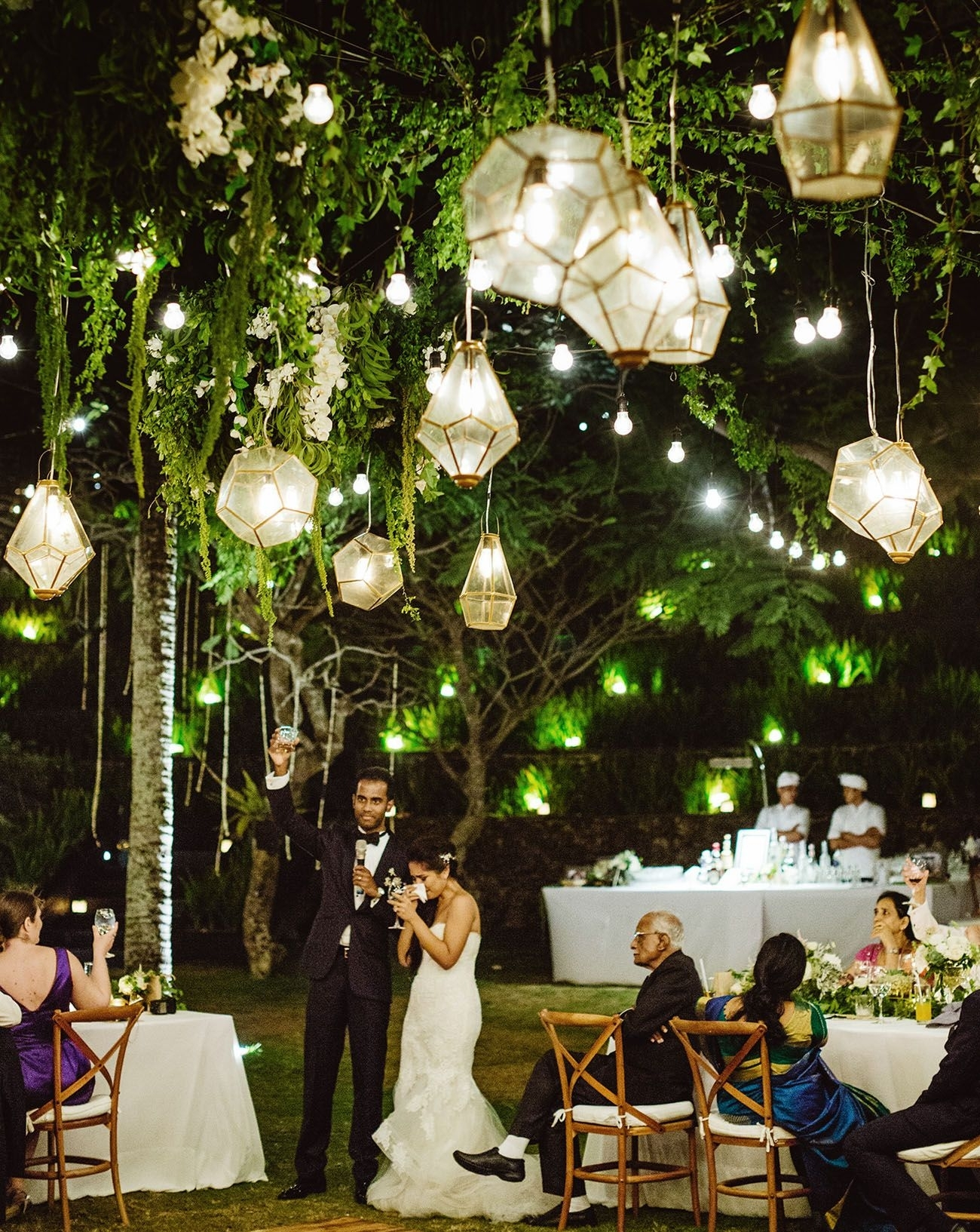 Inspiration about Romantic Cliffside Bali Wedding: Trish + Sid | Gold Lanterns Throughout Outdoor Hanging Party Lanterns (#10 of 15)