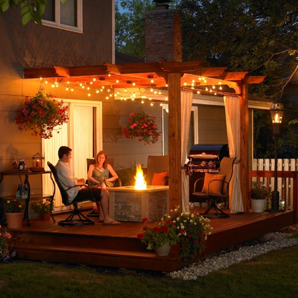 Inspiration about Romantic Hanging Light Ideas For Elegant Patio With Wooden Pergola Inside Outdoor Hanging Lights For Pergola (#7 of 15)
