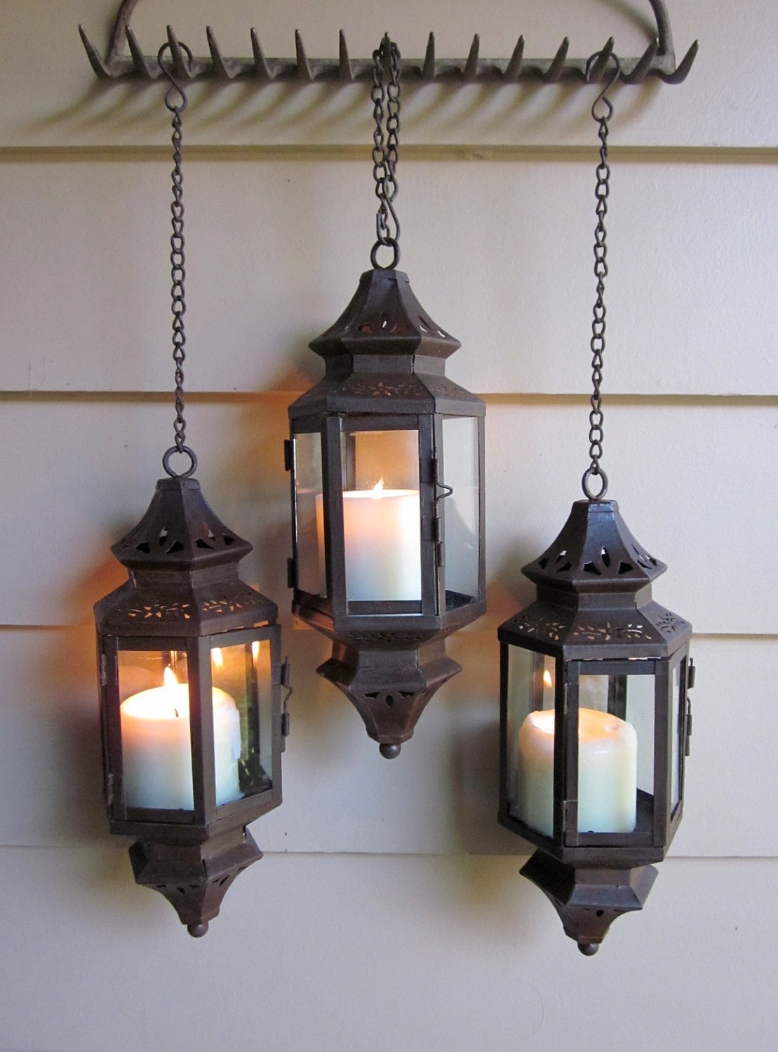 Inspiration about Rust Patina Hanging Lantern For Wedding, Pathway, Patio, Wall With Hanging Outdoor Entrance Lights (#14 of 15)