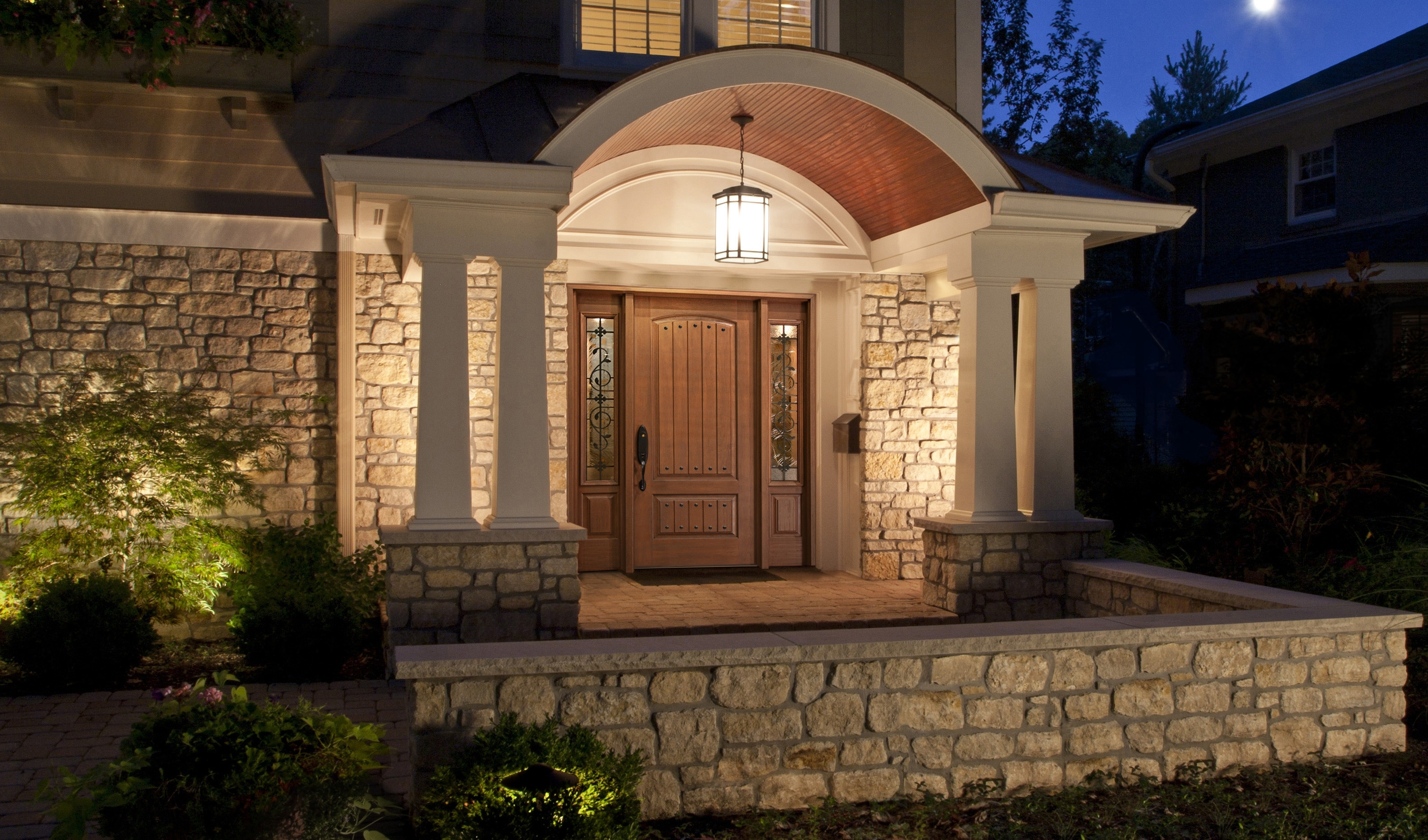 Inspiration about Rustic Modern House Design With Stone Wall Exterior And Wall Mounted Intended For Front Door Outdoor Hanging Lights (#4 of 15)