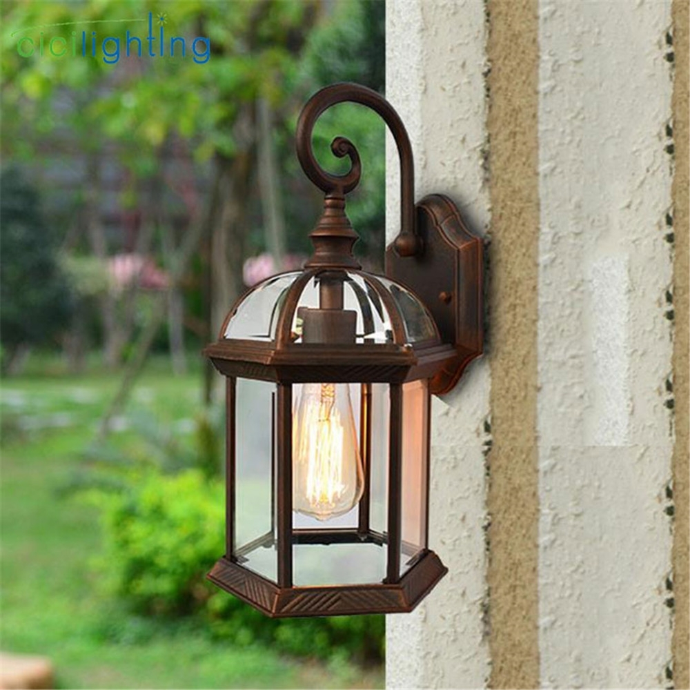 Rustic Waterproof Outdoor Wall Lamp Antique Outdoor Garden Lamps In European Outdoor Wall Lighting (#14 of 15)