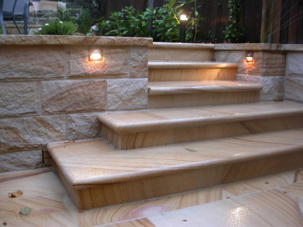 Sandstone Garden Walls And Stairs Sydney | House | Pinterest Pertaining To Outdoor Block Wall Lighting (#12 of 15)