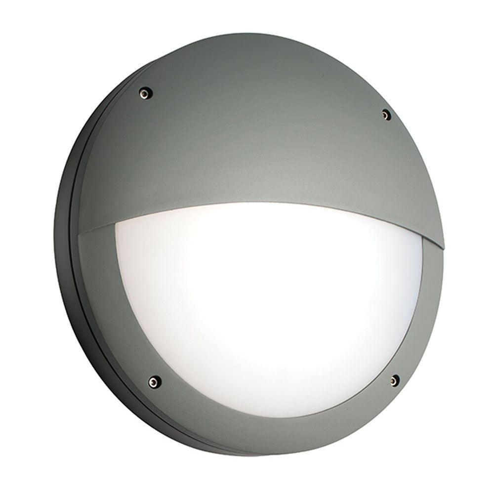 Saxby 61754 Luik Eyelid Grey Aluminium Round Led Outdoor Wall Light With Regard To Ip65 Outdoor Wall Lights (#13 of 15)