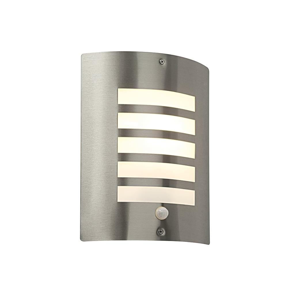 Saxby St031Fpir Bianco Stainless Steel Modern Outdoor Pir Wall Light Inside Modern Outdoor Wall Lighting (#14 of 15)