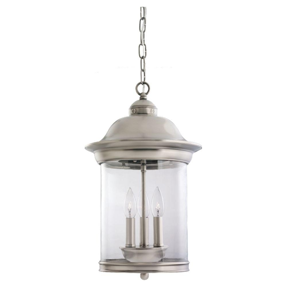 Sea Gull Lighting Hermitage 3 Light Antique Brushed Nickel Outdoor With Antique Outdoor Hanging Lights (#13 of 15)