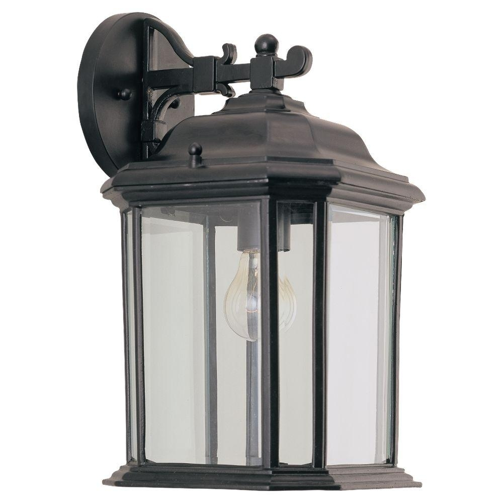 Sea Gull Lighting Kent 1 Light Black Outdoor Wall Fixture 84031 12 For Outdoor Hanging Wall Lanterns (#12 of 15)