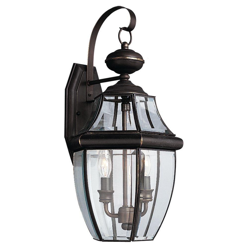 Sea Gull Lighting Lancaster 2 Light Outdoor Black Wall Fixture 8039 Inside Traditional Outdoor Wall Lights (#14 of 15)