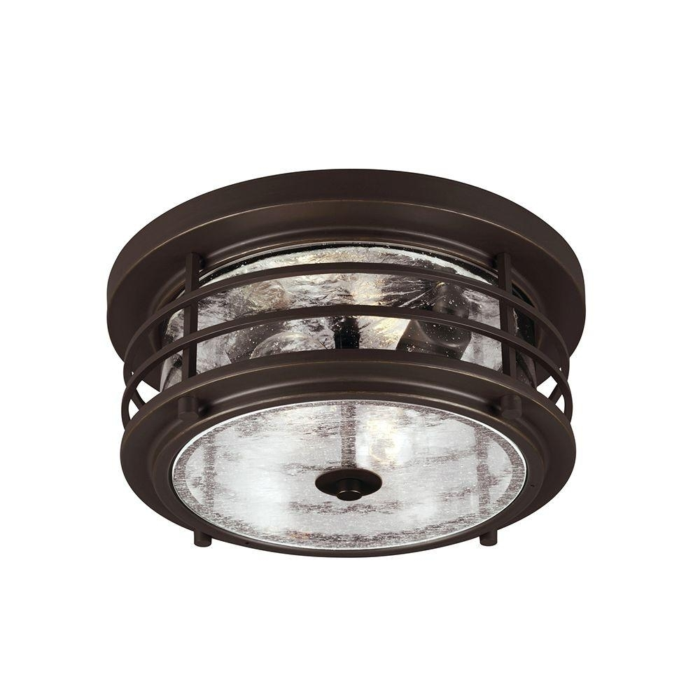 Sea Gull Lighting Sauganash 2 Light Outdoor Antique Bronze Ceiling For Outdoor Ceiling Lights At Home Depot (#12 of 15)