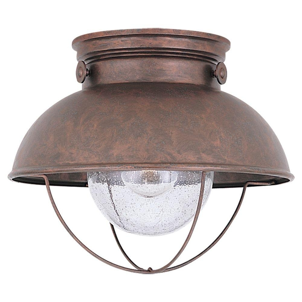 Sea Gull Lighting Sebring 1 Light Black Outdoor Flush Mount 8869 12 With Outdoor Close To Ceiling Lights (#13 of 15)