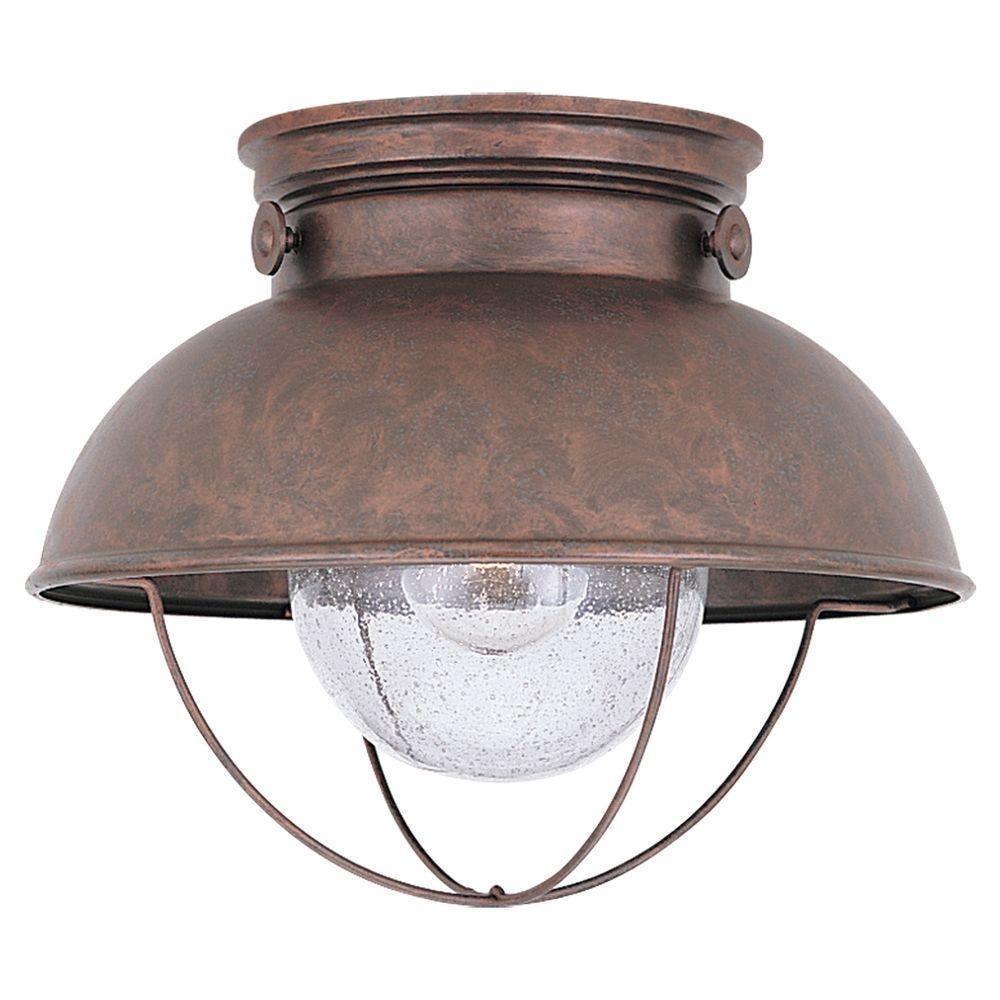 Sea Gull Lighting Sebring 1 Light Weathered Copper Outdoor Ceiling With Outdoor Ceiling Lights At Home Depot (#13 of 15)