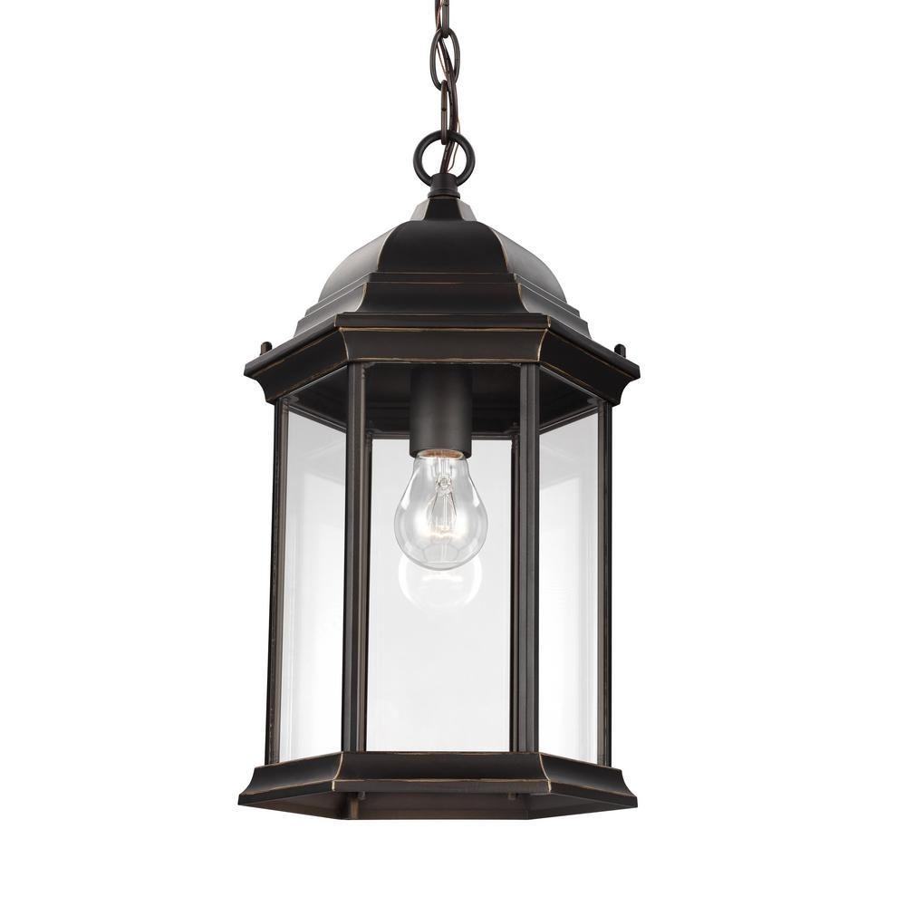 Sea Gull Lighting Sevier Antique Bronze 1 Light Outdoor Hanging Intended For Antique Outdoor Hanging Lights (#14 of 15)