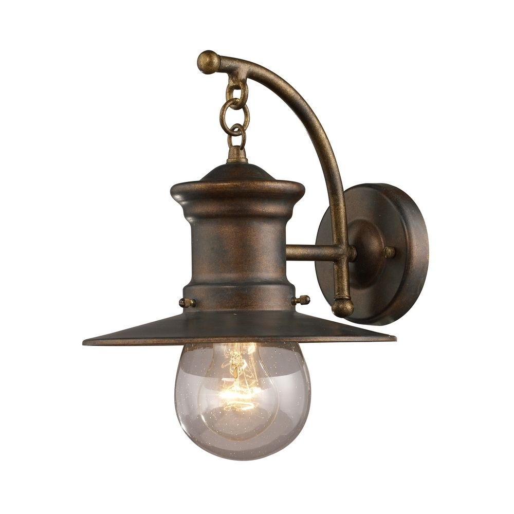 Seeded Glass Nautical Outdoor Wall Light Bronze 12 Inch Elk Lighting Throughout Farmhouse Outdoor Wall Lighting (#12 of 15)