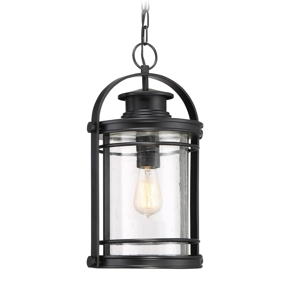 Seeded Glass Outdoor Hanging Light Black Quoizel Lighting   Bkr1910K Intended For Outdoor Hanging Light Fixtures In Black (#12 of 15)
