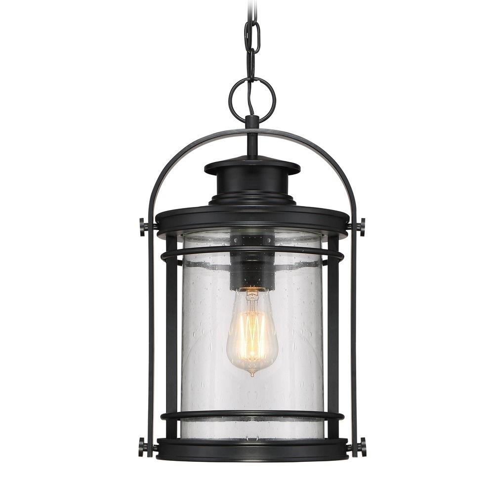 Seeded Glass Outdoor Hanging Light Black Quoizel Lighting | Bkr1910K Regarding Outdoor Rated Hanging Lights (#11 of 15)