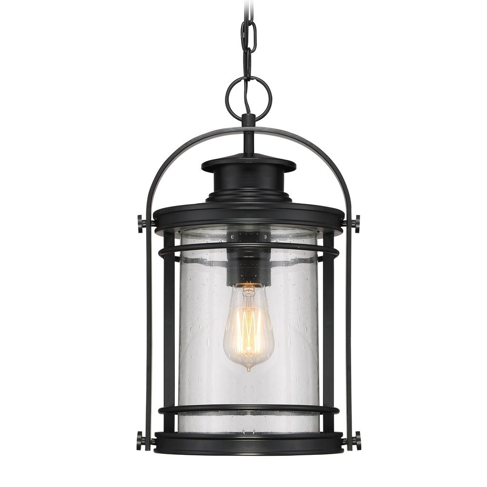 Seeded Glass Outdoor Hanging Light Black Quoizel Lighting | Bkr1910K With Regard To Outdoor Hanging Glass Lights (View 8 of 15)