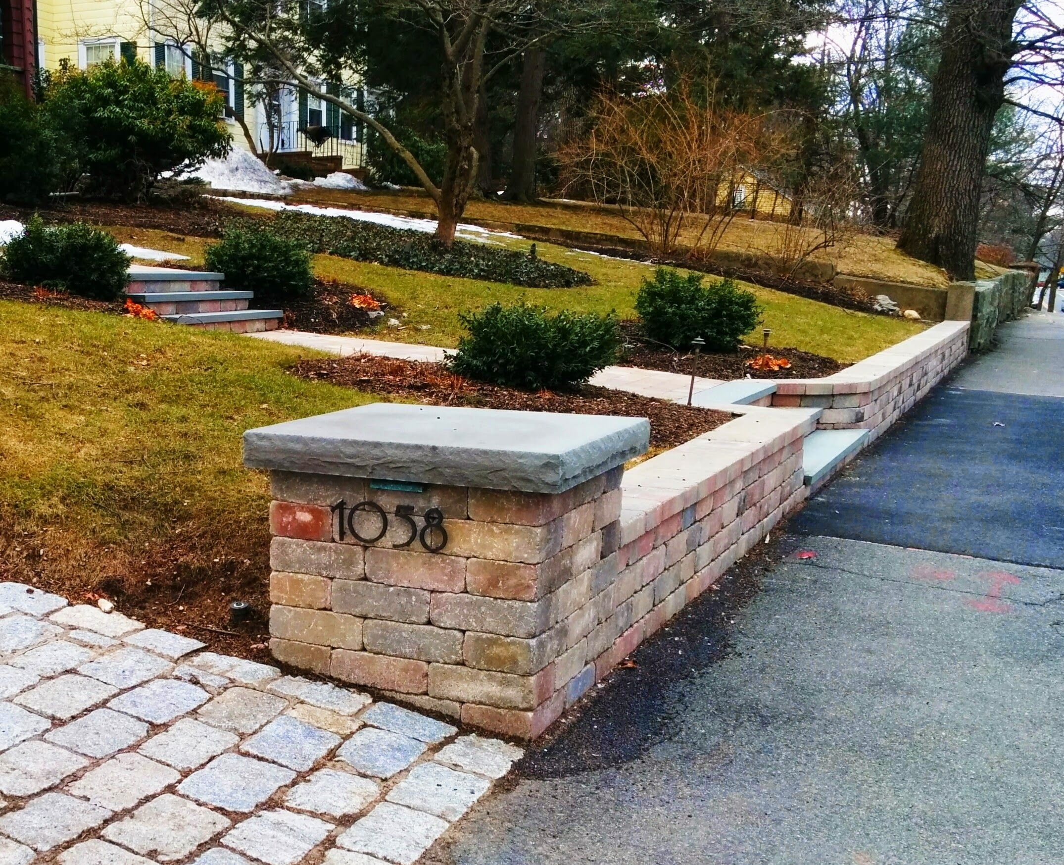 Segmental Concrete Block Retaining Wall, Pillars, And Steps With Inside Outdoor Block Wall Lighting (#13 of 15)