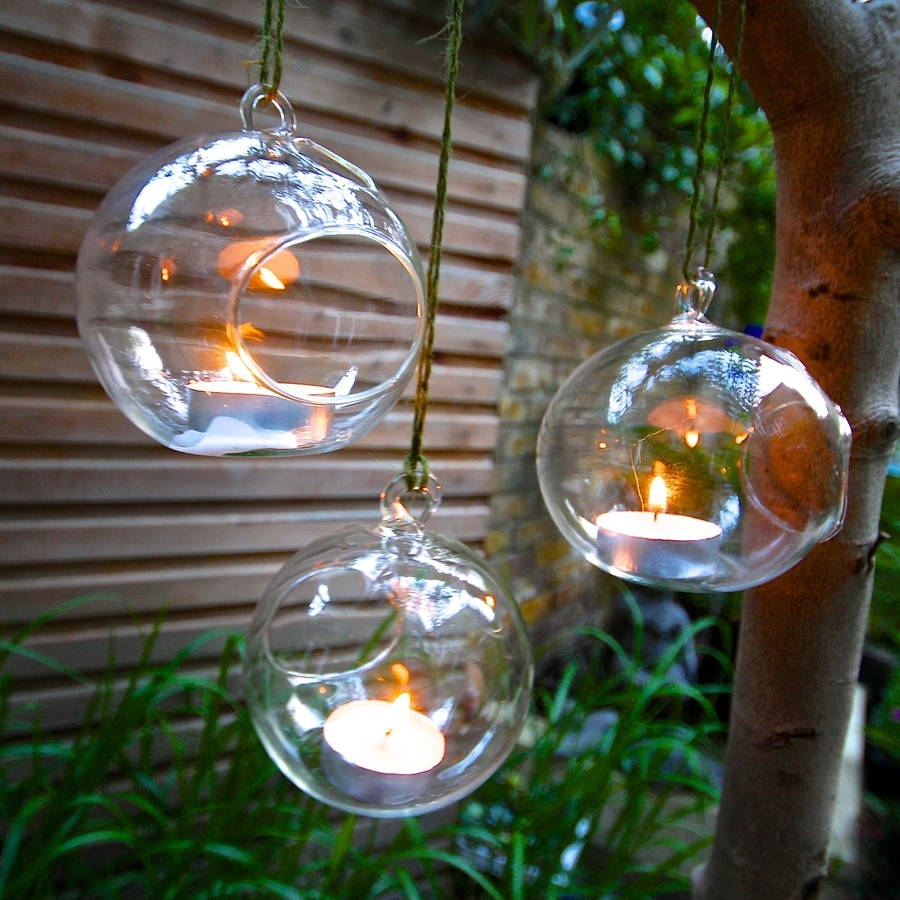 Set Of Four Hanging Tealight Votives | London Garden, Third And Terraria Pertaining To Outdoor Hanging Ornament Lights (#15 of 15)