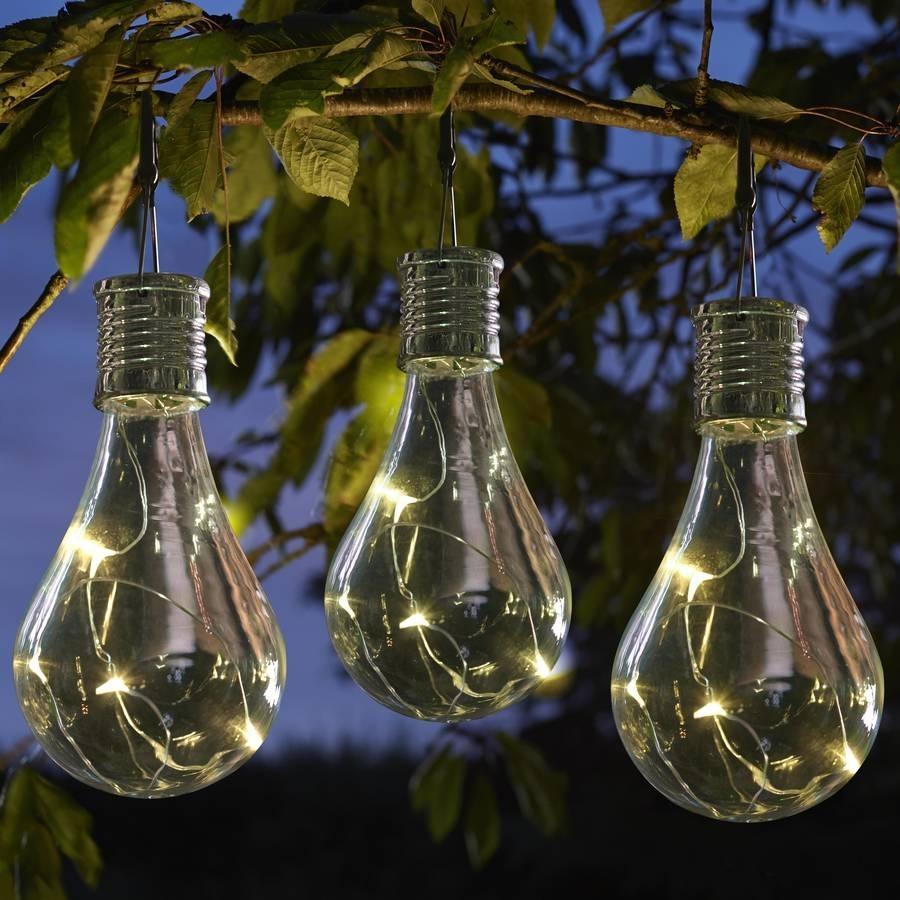 Set Of Six Solar Lightbulb Hanging Garden Lights | Lightbulb, Solar Pertaining To Outdoor Hanging Garden Lanterns (#14 of 15)
