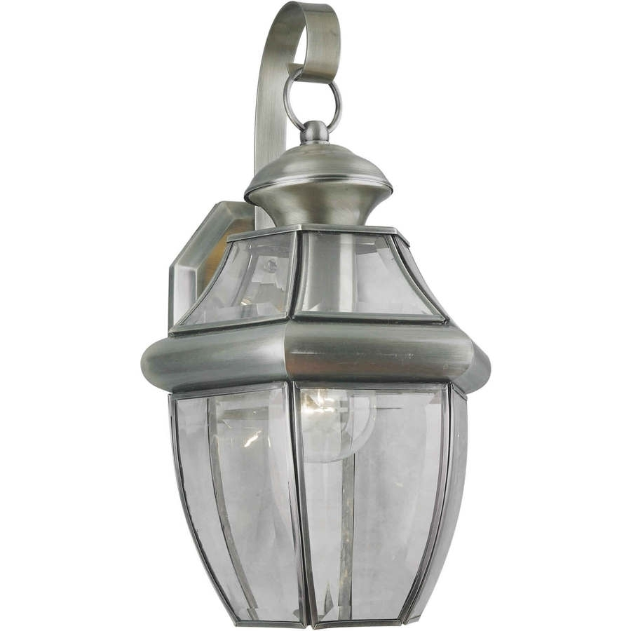 Shop 14 In H Antique Pewter Outdoor Wall Light At Lowes For Pewter Outdoor Wall Lights (#6 of 15)