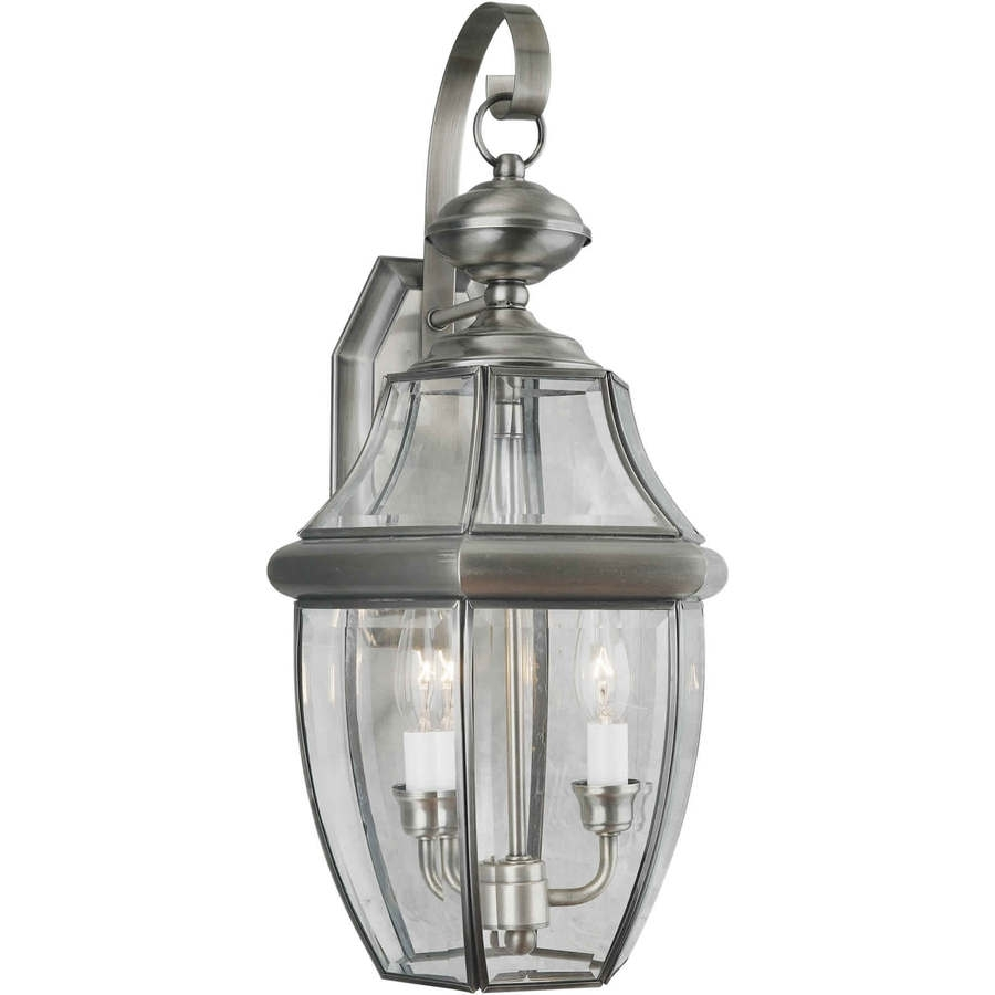 Shop 21 In H Antique Pewter Outdoor Wall Light At Lowes Pertaining To Pewter Outdoor Wall Lights (#7 of 15)