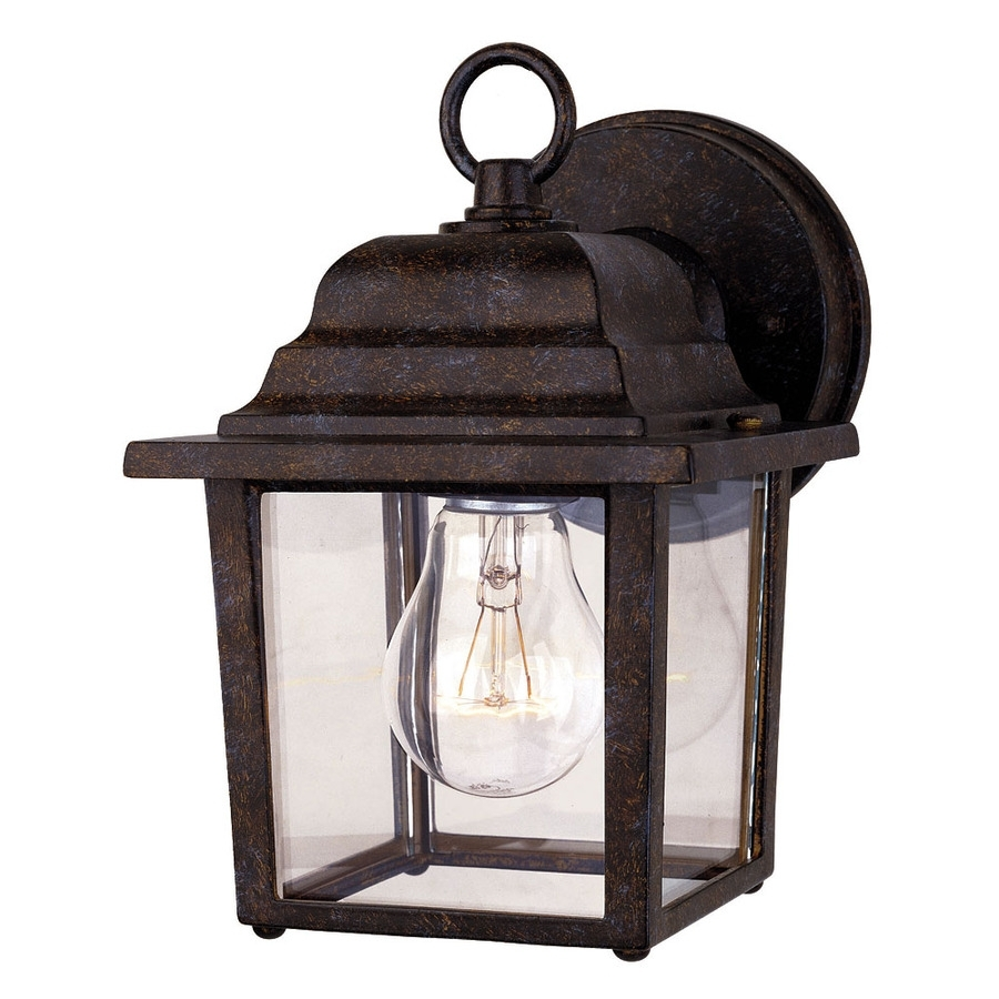 Shop 9 In H Rustic Bronze Outdoor Wall Light At Lowesforpros Intended For Rustic Outdoor Wall Lighting (#14 of 15)