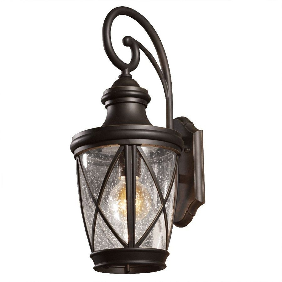 Shop Allen + Roth Castine 20 2/8 In Rubbed Bronze Outdoor Wall Light Intended For Outdoor Wall Garage Lights (#12 of 15)