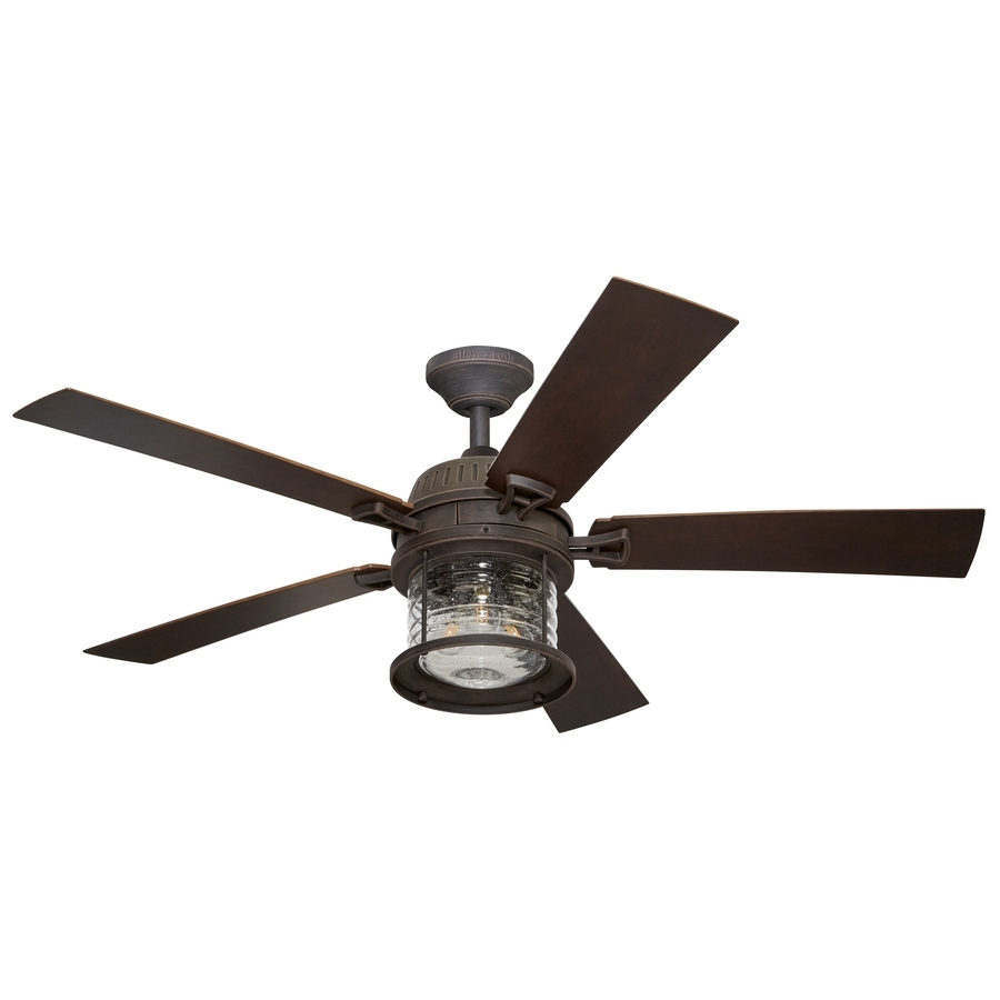 Shop Allen + Roth Stonecroft 52 In Rust Indoor/outdoor Downrod Or Throughout Outdoor Ceiling Fans With Light At Lowes (#4 of 15)
