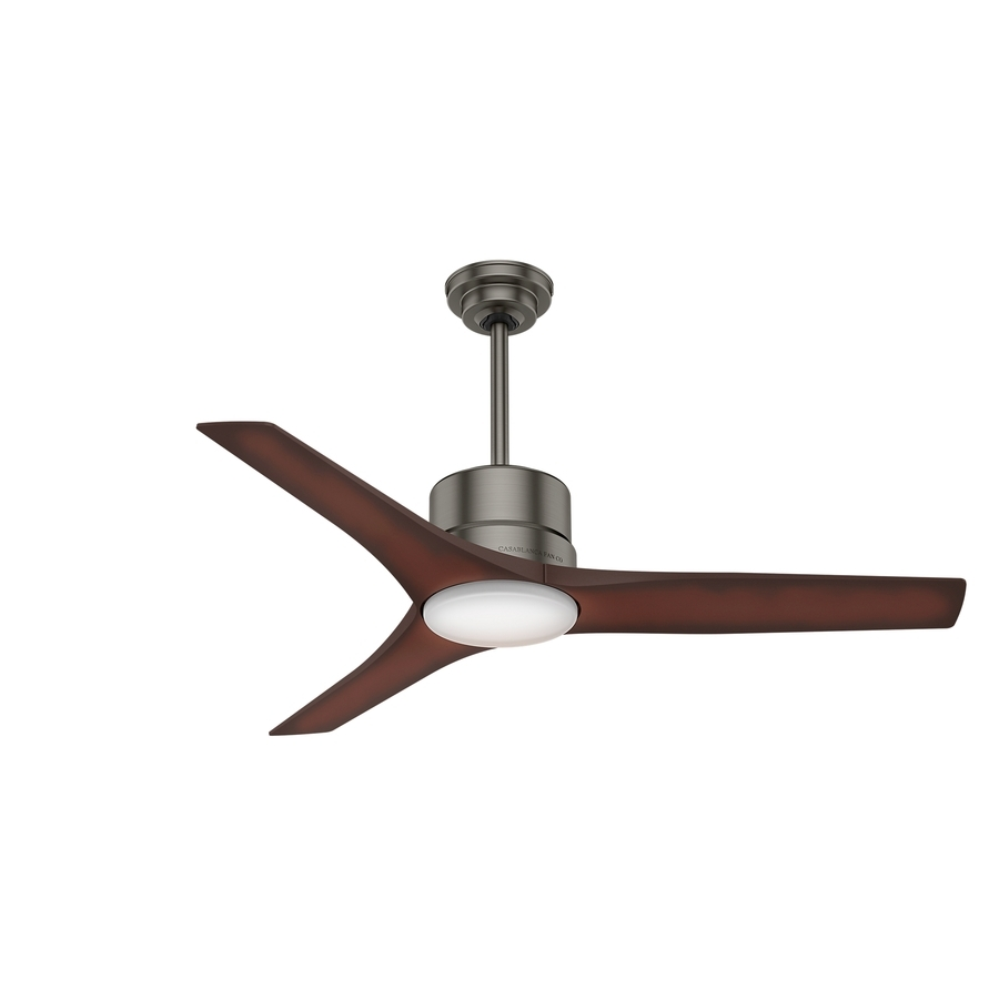Shop Casablanca Piston Led 52 In Brushed Slate Led Indoor/outdoor With Regard To Outdoor Ceiling Fans With Led Lights (#13 of 15)