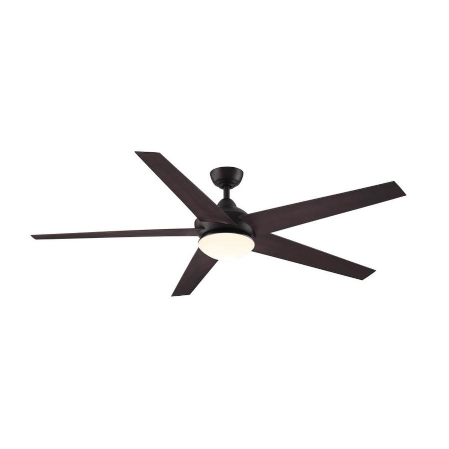 Shop Fanimation Studio Collection Covert 64 In Aged Bronze Indoor Regarding Outdoor Ceiling Fans With Light At Lowes (#9 of 15)