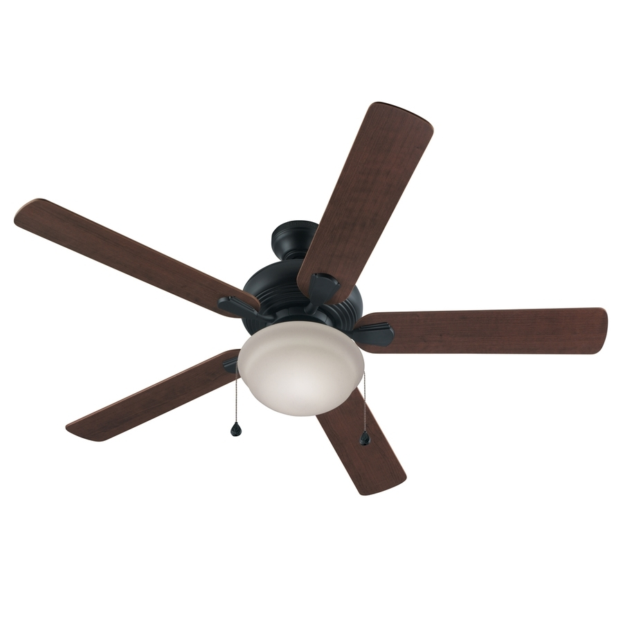 Shop Harbor Breeze Caratuk River 52 In Bronze Indoor Downrod Or Regarding Outdoor Ceiling Fans With Remote Control Lights (#13 of 15)