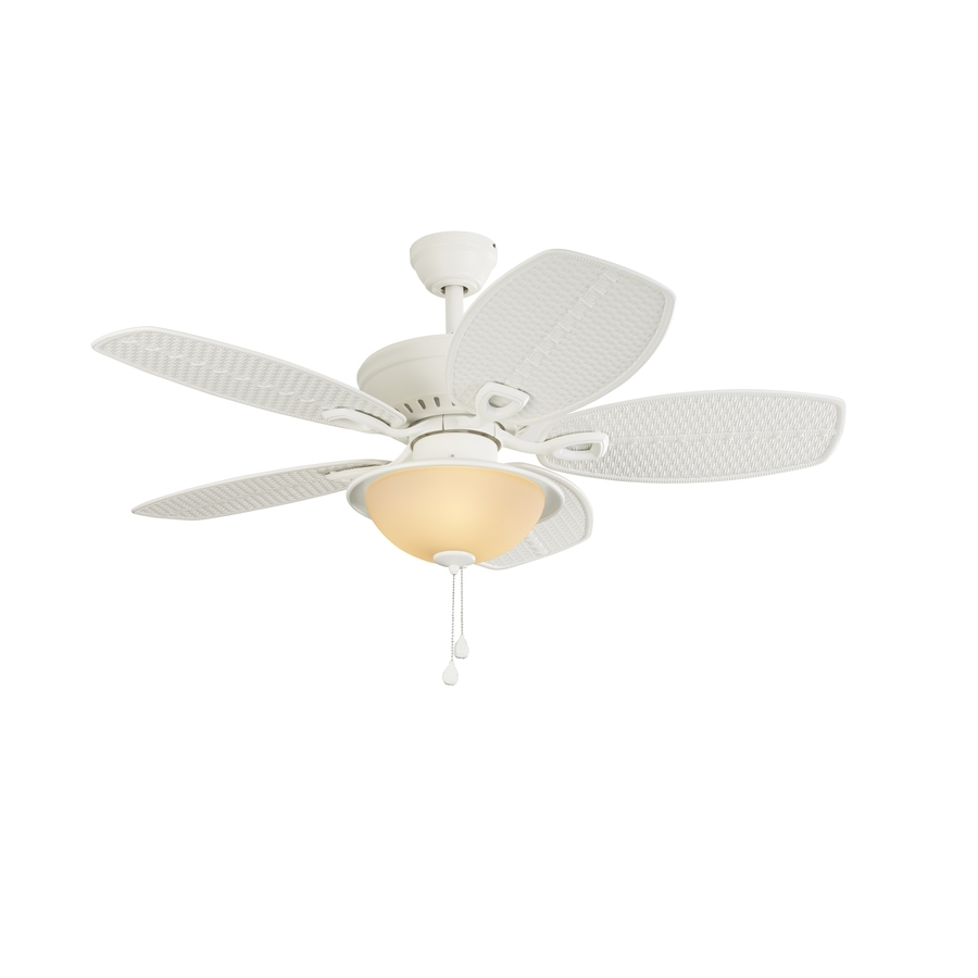 Shop Harbor Breeze Cedar Shoals 44 In White Indoor/outdoor Downrod Pertaining To Outdoor Ceiling Fans With Light At Lowes (#10 of 15)