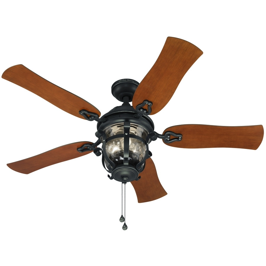 Shop Harbor Breeze Lake Placido 52 In Black Iron Indoor/outdoor Within Outdoor Ceiling Fans With Lights At Lowes (#12 of 15)