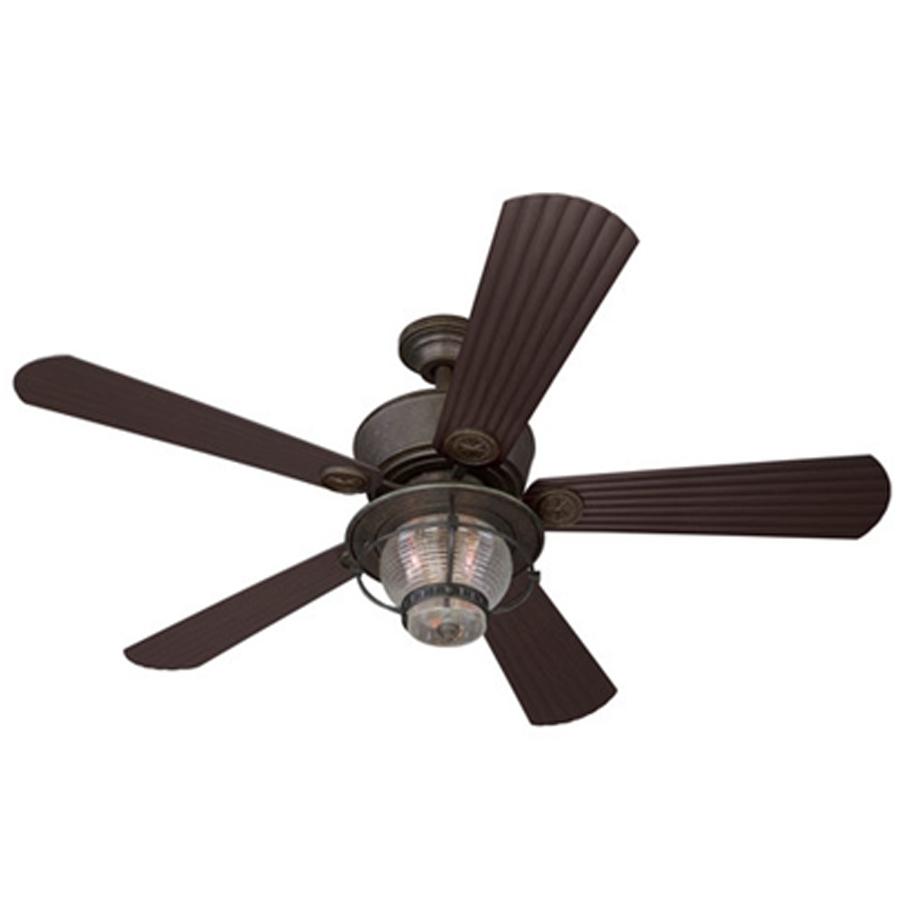 Shop Harbor Breeze Merrimack 52 In Antique Bronze Indoor/outdoor Regarding Indoor Outdoor Ceiling Fans Lights (View 14 of 15)