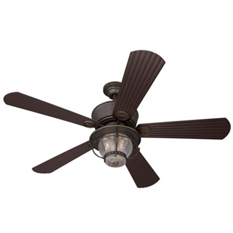 Shop Harbor Breeze Merrimack 52 In Antique Bronze Indoor/outdoor Throughout Bronze Outdoor Ceiling Fans With Light (#11 of 15)