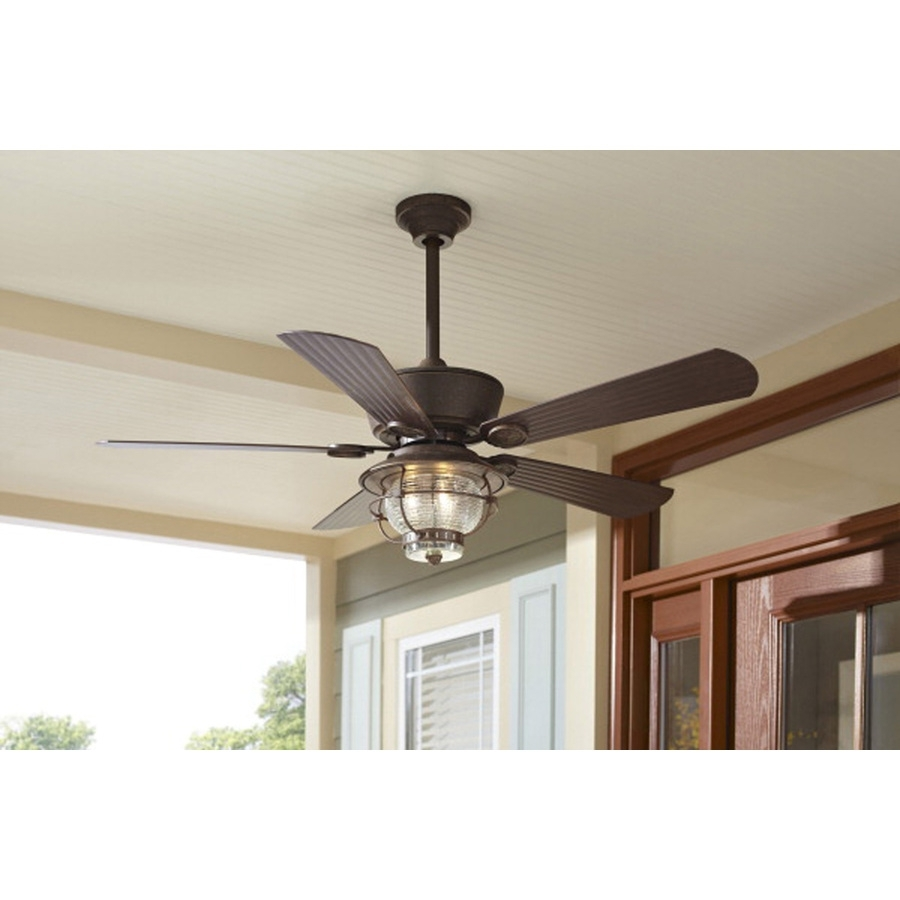 Shop Harbor Breeze Merrimack 52 In Antique Bronze Outdoor Downrod Or Intended For Outdoor Ceiling Fan Lights (#13 of 15)