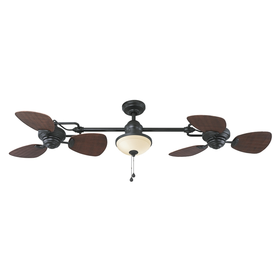 Shop Harbor Breeze Twin Breeze Ii 74 In Oil Rubbed Bronze Indoor Pertaining To Outdoor Ceiling Fans With Light At Lowes (#13 of 15)