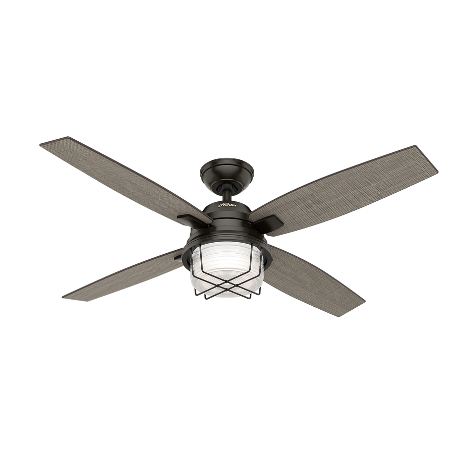 Shop Hunter Ivy Creek 52 In Noble Bronze Indoor/outdoor Downrod Or Pertaining To Outdoor Ceiling Fans With Light At Lowes (#14 of 15)